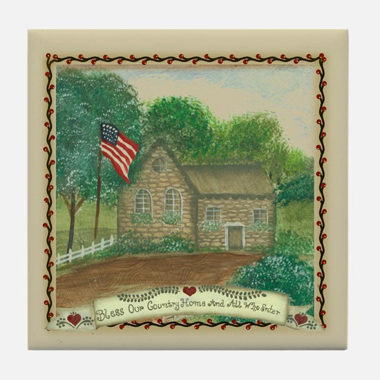 Bless Our Country Home Tile Coaster