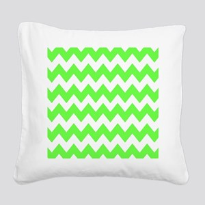 Lime Green Chevron Square Canvas Pillow
