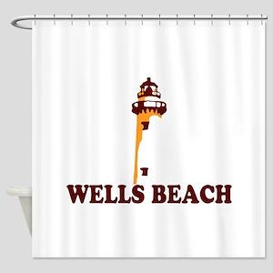 Wells Beach ME - Lighthouse Design. Shower Curtain