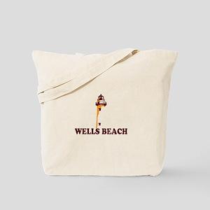 Wells Beach ME - Lighthouse Design. Tote Bag