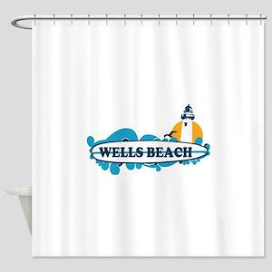 Wells Beach ME - Surf Design. Shower Curtain