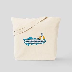 Wells Beach ME - Surf Design. Tote Bag