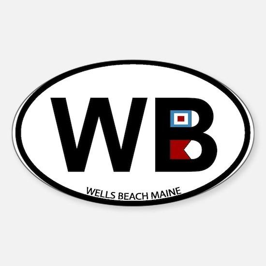 Wells Beach ME - Oval Design. Sticker (Oval)