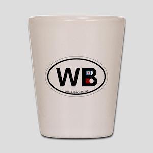 Wells Beach ME - Oval Design. Shot Glass