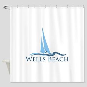 Wells Beach MA - Sailing Design. Shower Curtain