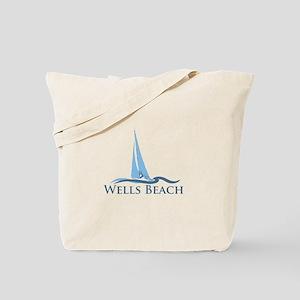 Wells Beach MA - Sailing Design. Tote Bag