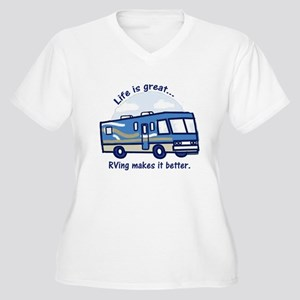 RVinggreat Women's Plus Size V-Neck T-Shirt