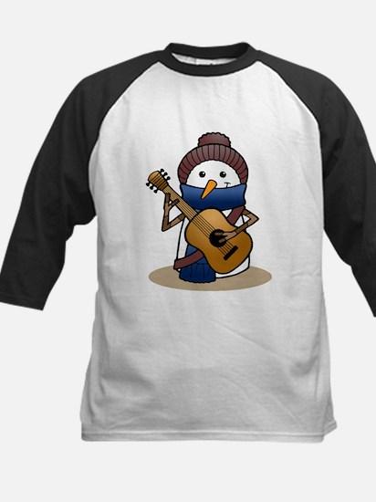 Snowman with Guitar Kids Baseball Jersey