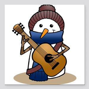 """Snowman with Guitar Square Car Magnet 3"""" x 3"""""""