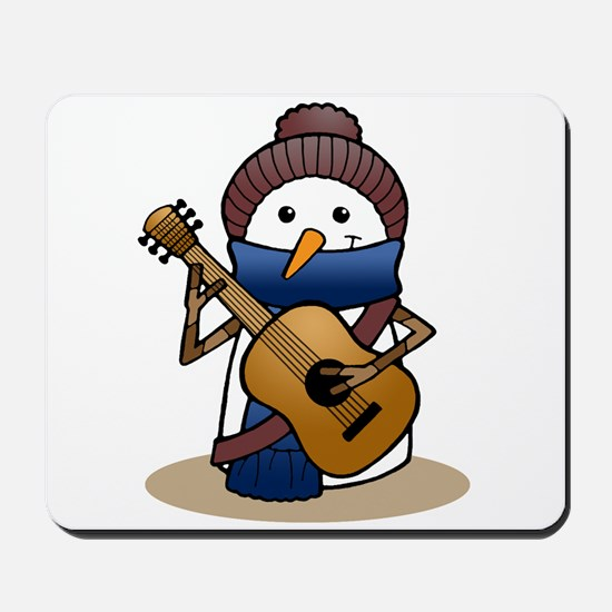 Snowman with Guitar Mousepad