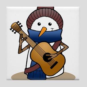 Snowman with Guitar Tile Coaster
