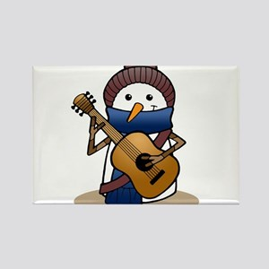 Snowman with Guitar Rectangle Magnet