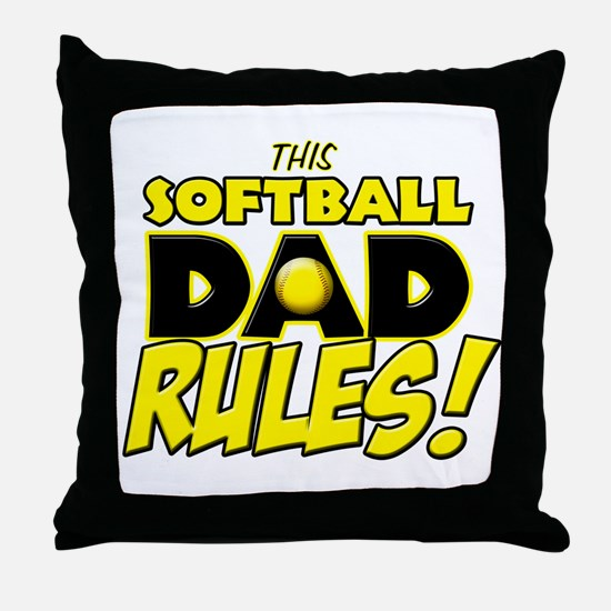 This Softball Dad Rules copy.png Throw Pillow