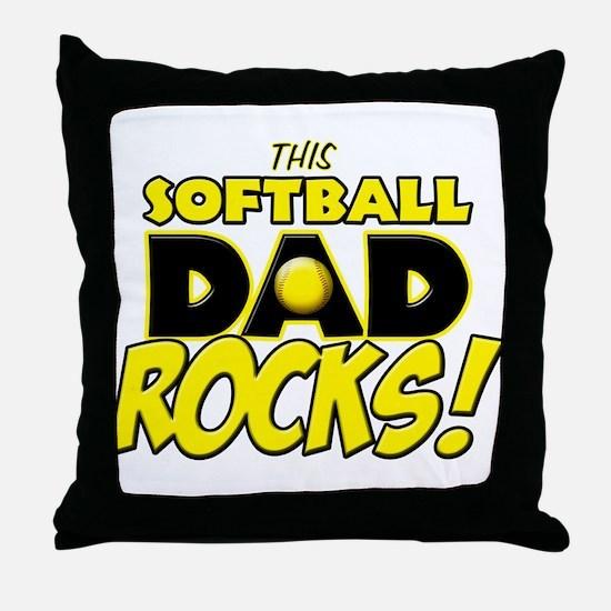 This Softball Dad Rocks copy.png Throw Pillow