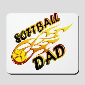 Softball Dad (flame) copy Mousepad