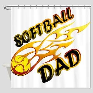 Softball Dad (flame) copy Shower Curtain