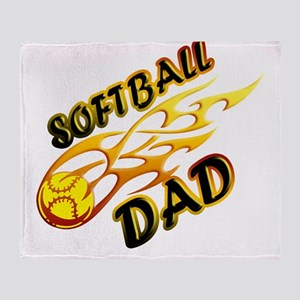 Softball Dad (flame) copy Throw Blanket