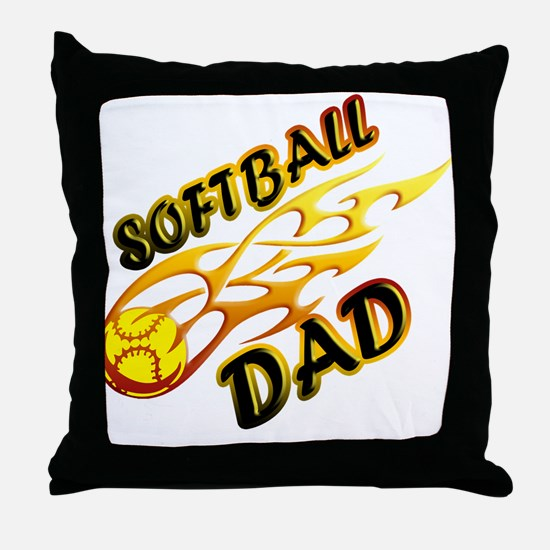 Softball Dad (flame) copy.png Throw Pillow