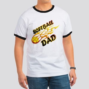 Softball Dad (flame) copy Ringer T