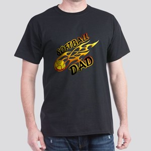 Softball Dad (flame) copy Dark T-Shirt