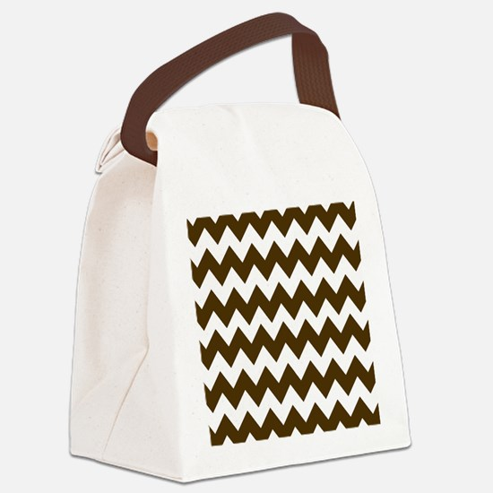 Dark Brown and White Chevron Canvas Lunch Bag