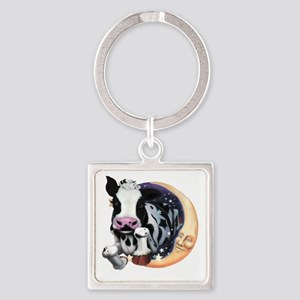 Cow Jump Over the Moon Square Keychain