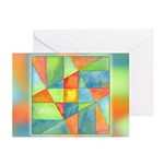 Color Square Abstract 1 Greeting Cards (Pk of 10)