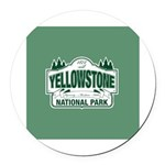 Green Yellowstone Round Car Magnet