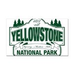 Green Yellowstone Rectangle Car Magnet