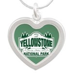 Yellowstone Green Design Silver Heart Necklace