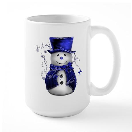 Cute Snowman in Blue Velvet Mugs