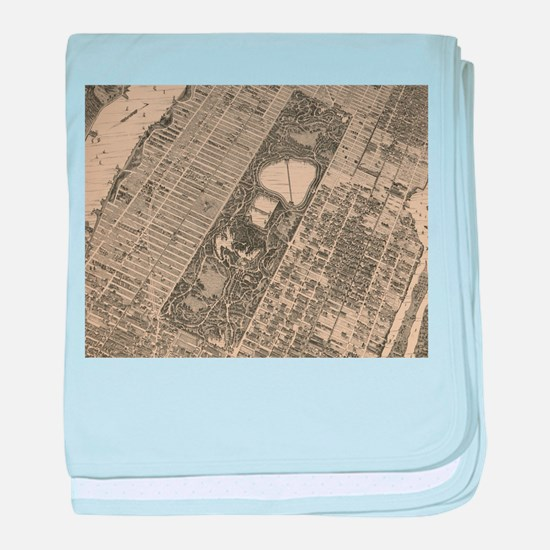 Vintage Central Park NYC Map (1879) baby blanket
