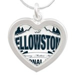 Yellowstone NP Blue Silver Heart Necklace