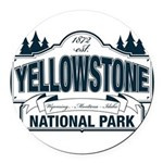 Yellowstone NP Blue Round Car Magnet
