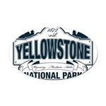 Yellowstone NP Blue Oval Car Magnet