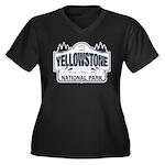 Yellowstone NP Blue Women's Plus Size V-Neck Dark