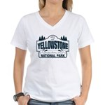 Yellowstone NP Blue Women's V-Neck T-Shirt