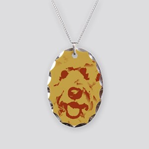 goldenDoodle_2tone_type1 Necklace Oval Charm