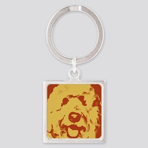 goldenDoodle_2tone_type1 Square Keychain