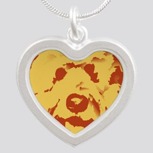 goldenDoodle_2tone_type1 Silver Heart Necklace