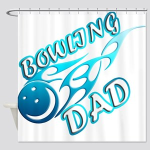Bowling Dad (flame) copy Shower Curtain