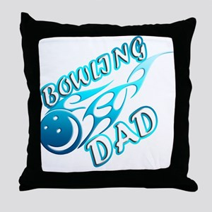 Bowling Dad (flame) copy Throw Pillow
