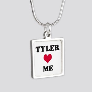 Tyler Loves Me Silver Square Necklace