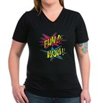 Fun Wow Women's V-Neck Dark T-Shirt