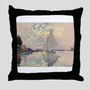 Monet Sailboat Throw Pillow