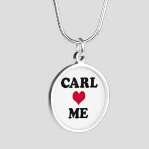 Carl Loves Me Silver Round Necklace