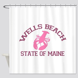 Wells Beach ME - Lobster Design. Shower Curtain