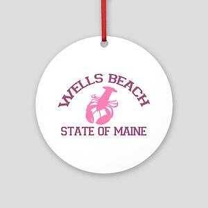 Wells Beach ME - Lobster Design. Ornament (Round)