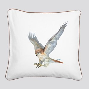 striking Red-tail Hawk Square Canvas Pillow