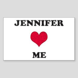 Jennifer Loves Me Rectangle Sticker